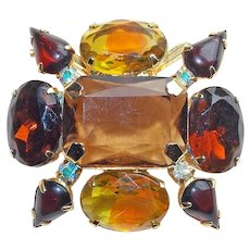Gorgeous Chocolate Brown Rhinestone & Givre Glass Vintage Brooch - Autumn Fall Colors