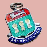 Vintage Saskatchewan Sterling & Enamel Estate Charm - Travel Souvenir of Canada - Canadian
