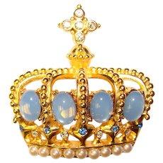 Gorgeous OPALESCENT GLASS Rhinestone Crown Vintage Brooch