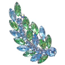 Fabulous WEISS Signed Blue & Green Rhinestone Vintage Brooch