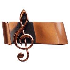Signed Renoir Copper Treble Clef Vintage Brooch - For a Music Lover