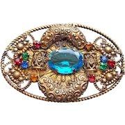 Fabulous ART DECO Aqua Glass & Rhinestone Vintage Brooch