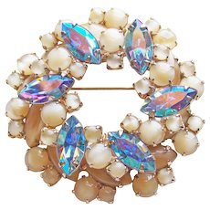 Gorgeous Blue Aurora Rhinestone & Beige Satin Glass Vintage Brooch