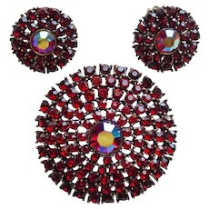 Fabulous WEISS Signed Red & Red Aurora Rhinestone Vintage Brooch Set