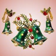 Gorgeous CHRISTMAS BELLS Rhinestone Vintage Brooch Set