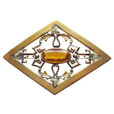 Fabulous Antique Victorian Amber Glass Sash Estate Pin Brooch - George L. Paine Signed GLP