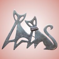 Sterling Modernist CATS Signed Mexican Vintage Brooch - Taxco