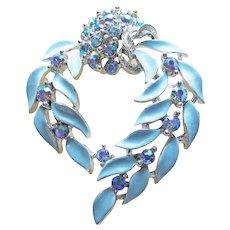 Gorgeous LISNER Signed Blue Aurora Rhinestone & Enamel Vintage Brooch