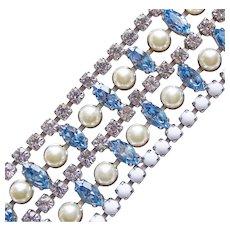 Fabulous Wide Blue Rhinestone Vintage Bracelet