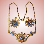 Gorgeous CORO Blue Rhinestone Vintage Necklace & Earrings Set