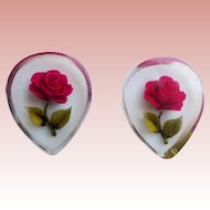 Reverse Carved Lucite Red Rose Vintage Estate Earrings