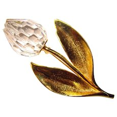 Fabulous Swarovski Signed Crystal TULIP Flower Brooch - Swan Mark