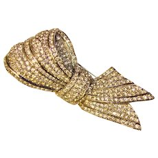 Fabulous CINER Huge Rhinestone Bow Knot Design Brooch