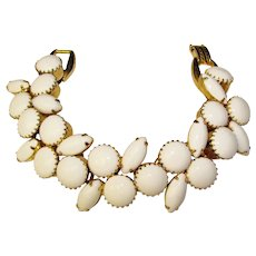 Fabulous D&E JULIANA Milk Glass Stones Vintage Bracelet