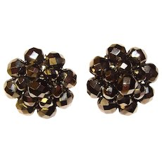 Beautiful W. Germany HEMATITE GLASS Vintage Clip Earrings