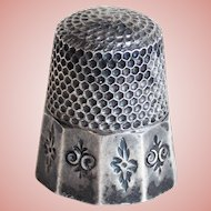 Gorgeous Antique Sterling Thimble with Fancy Panels - Thomas Brogan Size 5