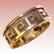 Awesome STERLING Greek Key Design Band Style Ring