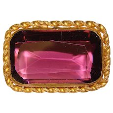 Fabulous VICTORIAN Purple Glass Stone Brooch