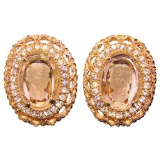 Gorgeous GLASS CAMEO Rhinestone Signed Vintage Earrings