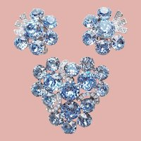 Fabulous EISENBERG Signed Blue Rhinestone Vintage Set - Brooch & Earrings