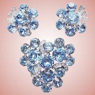 Fabulous EISENBERG Signed Blue Rhinestone Vintage Set - Brooch & Earrings