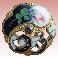 Gorgeous Antique Enamel Estate Button - 5/8""