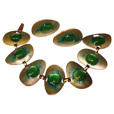 Fabulous KAY DENNING Vintage Green Enameled Bracelet Set