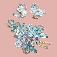 Fabulous D&E JULIANA Aqua Rhinestone Aurora Crystal Vintage Set - Brooch & Earrings