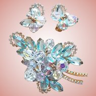 Fabulous D&E JULIANA Aqua Rhinestone Aurora Crystal Vintage Set - Brooch & Earrings