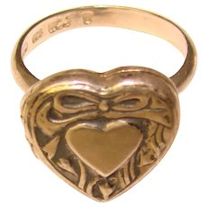 Awesome STERLING Puffy Heart Secret Compartment Locket Ring