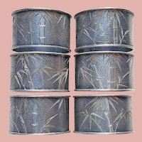 Antique Sterling BAMBOO Engraved Design Napkin Rings - Arts & Crafts Asian Theme Napkin Holders