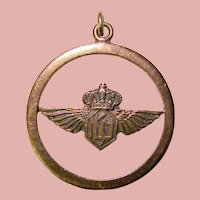Awesome KLM Wings & Crown Vintage Pendant - Royal Dutch Airlines