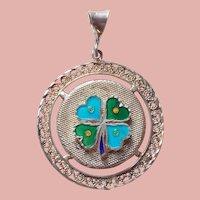 Sterling & Enamel Four Leaf Clover Shamrock Vintage Pendant