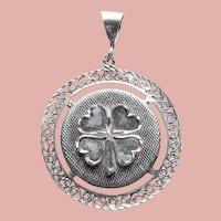 Sterling Four Leaf Clover Shamrock Vintage Pendant