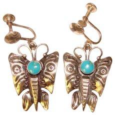 Fabulous STERLING & Turquoise Vintage Butterfly Earrings