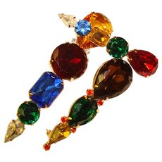 Fabulous TRIO of Vintage Colored Glass Rhinestone Brooches