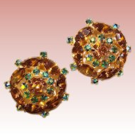 Fabulous Topaz & Peacock Aurora Rhinestone Vintage Clip Earrings