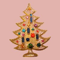Awesome Color Rhinestone CHRISTMAS TREE Vintage Pin Brooch