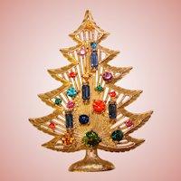 Awesome Color Rhinestone CHRISTMAS TREE Vintage Pin Brooch