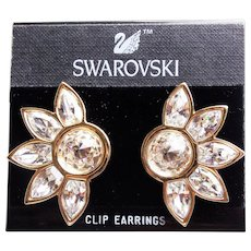 "Fabulous SWAROVSKI Signed SAL Crystal Rhinestone Vintage Earrings - Large 1 3/4"" Clips on Card"