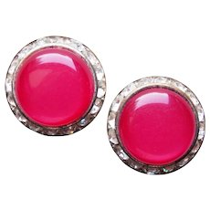 Awesome Cherry Red Moonglow Lucite & Rhinestone Vintage Earrings