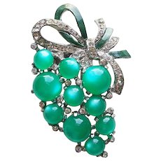 Fabulous Figural Grapes Moonglow Lucite & Rhinestone Vintage Fur Clip Brooch