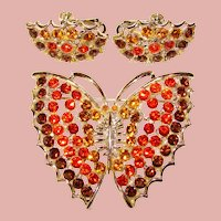 Fabulous FALL COLORS Butterfly Design Rhinestone Brooch Set