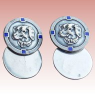 Art Deco Sterling & Enamel DOG Cufflinks - Rare Vintage Estate
