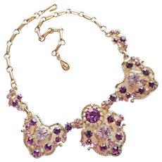 Fabulous Coro Purple & Lavender Rhinestone Vintage Necklace