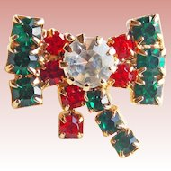 "Tiny CHRISTMAS BOW Rhinestone Brooch - 5/8"" Vintage Mini Pin For Doll"