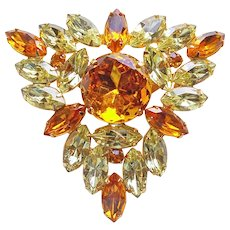 Fabulous AMBER & YELLOW Rhinestone Vintage Brooch - Autumn Fall Colors