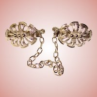 Awesome Ornate Silver Finish Vintage SWEATER GUARD Clips