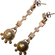 Gorgeous STERLING & GRAY PEARL Vintage Dangle Earrings