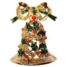 Gorgeous GERRYS Holly Christmas Bell Vintage Brooch